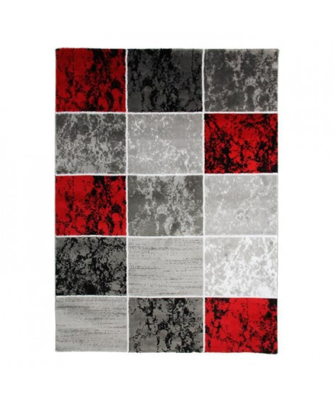 SUBWAY CUBE Tapis de salon en polypropylene - 120x170 cm - Rouge