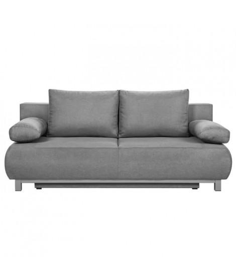 SHILO Banquette convertible 3 places - Tissu gris clair - Style contemporain - L 192 x P 93 cm